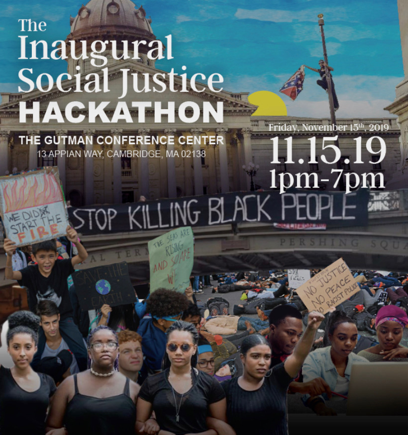 Poster for Inaugural Social Justice Hackathon on November 15th, 2019.