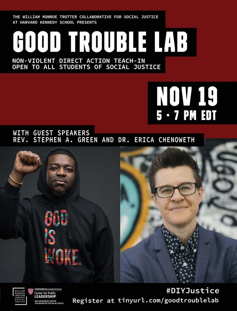 Poster for Good Trouble Lab: A non-violent direct action teach-in open to all students of social justice