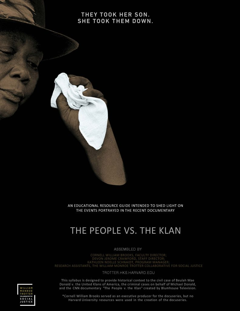 """Poster for CNN documentary series """"The People Vs. The Klan"""", with the heading """"They took her son. She took them down."""""""